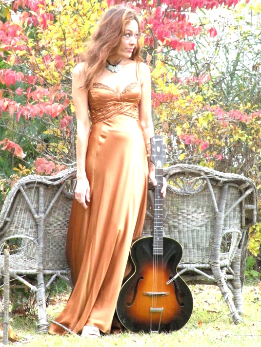 angel in  copper silk gown1