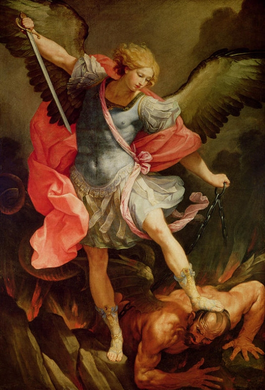 Michael teh Archangel defaring satan-1